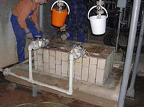 Leaking sulphuric acid had damaged pump base